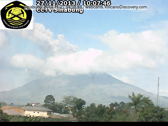 Continuous ash emissions from Sinabung today (VSI webcam)