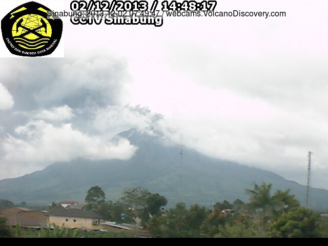 Ash emission from Sinabung volcano today