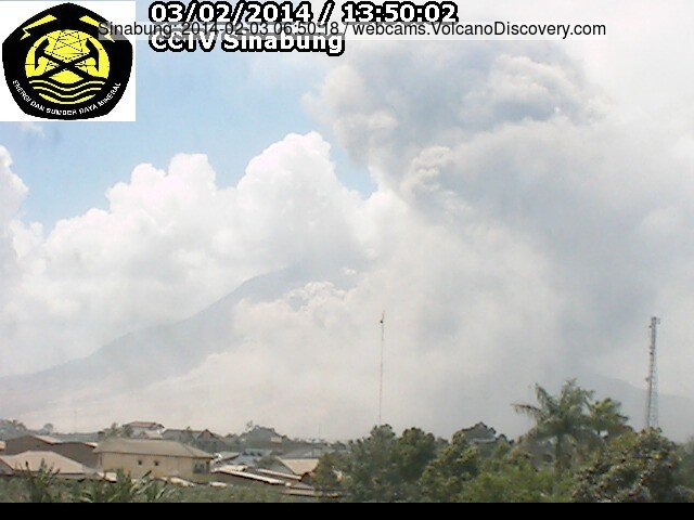 Pyroclastic flow at Sinabung yesterday afternoon