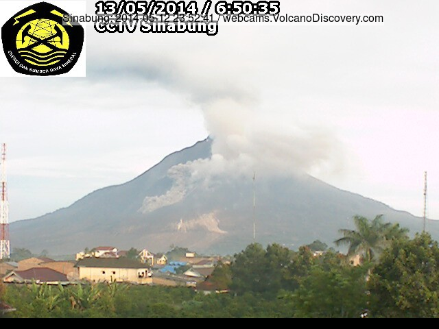 Small pyroclastic flow at Sinabung on the morning of 13 May