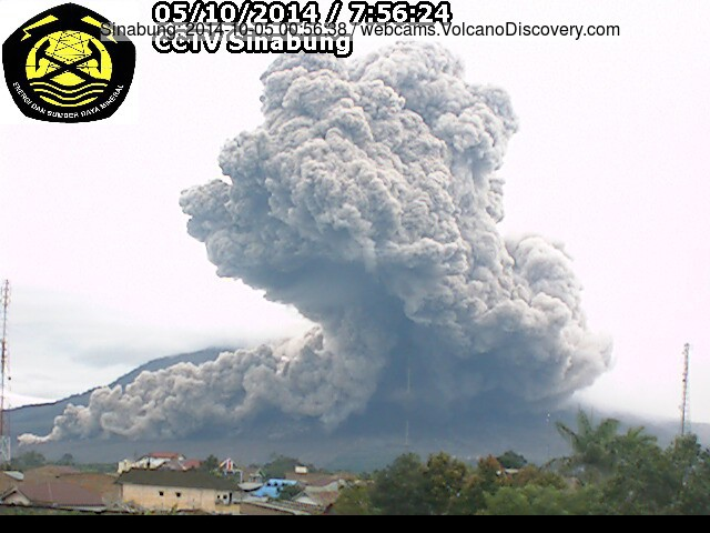 Pyroclastic flow on Sinabung this morning