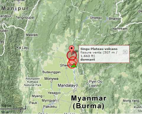 Location of Singu Plateau volcano and the earthquakes on 11 Nov 2012