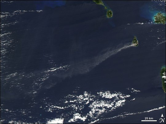 The ash plume of an explosion of Soufrière Hills volcano on Montserrat on February 16, 2006. The ash drifted westward over the Caribbean Sea and over the U.S. Virgin Islands and parts of Puerto Rico. Image: taken by the Moderate Resolution Imaging Spectroradiometer (MODIS) flying onboard the Aqua satellite. NASA image created by Jesse Allen, Earth Observatory, using data obtained courtesy of MODIS Rapid Response team.