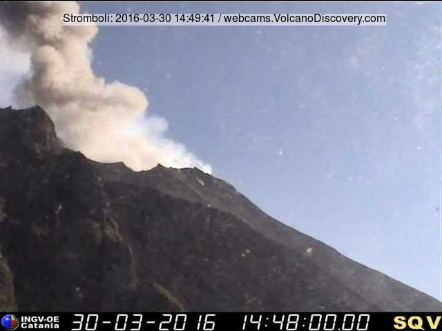 Ash plume from a small eruption at Stromboli yesterday (INGV Catania webcam)