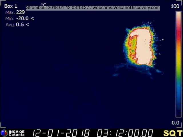 Example of a strong strombolian eruption at Stromboli from this morning (image: INGV Catania thermal webcam from 400 m Sciara viewpoint)