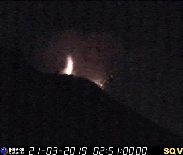 Strombolian eruption at Stromboli early on 21 Mar 2019 (image: INGV Catania webcam)