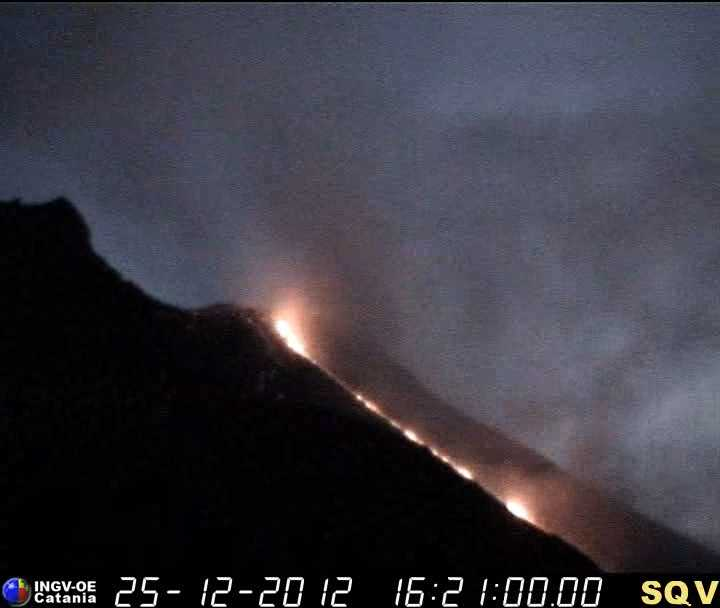 The new lava flow on the evening of 25.12.