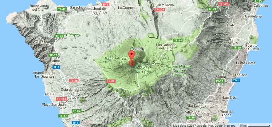 Location of today's earthquake under Teide volcano