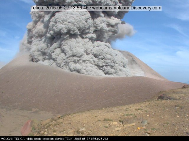 Telica's eruption seen by the INETER webcam