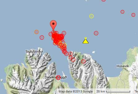 Location of recent quakes at the TFZ