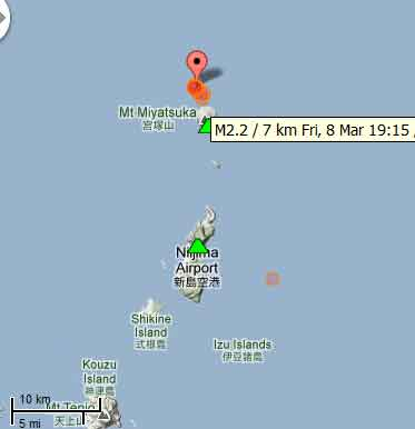Toshima volcano Izu Islands Japan earthquake swarm