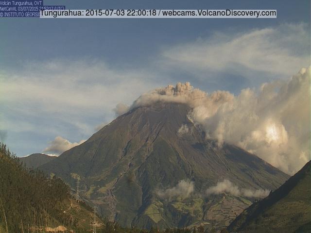 Ash emissions from Tungurahua on 3 July