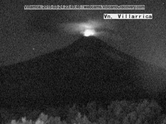 Incandescence from strombolian activity at Villarrica last evening