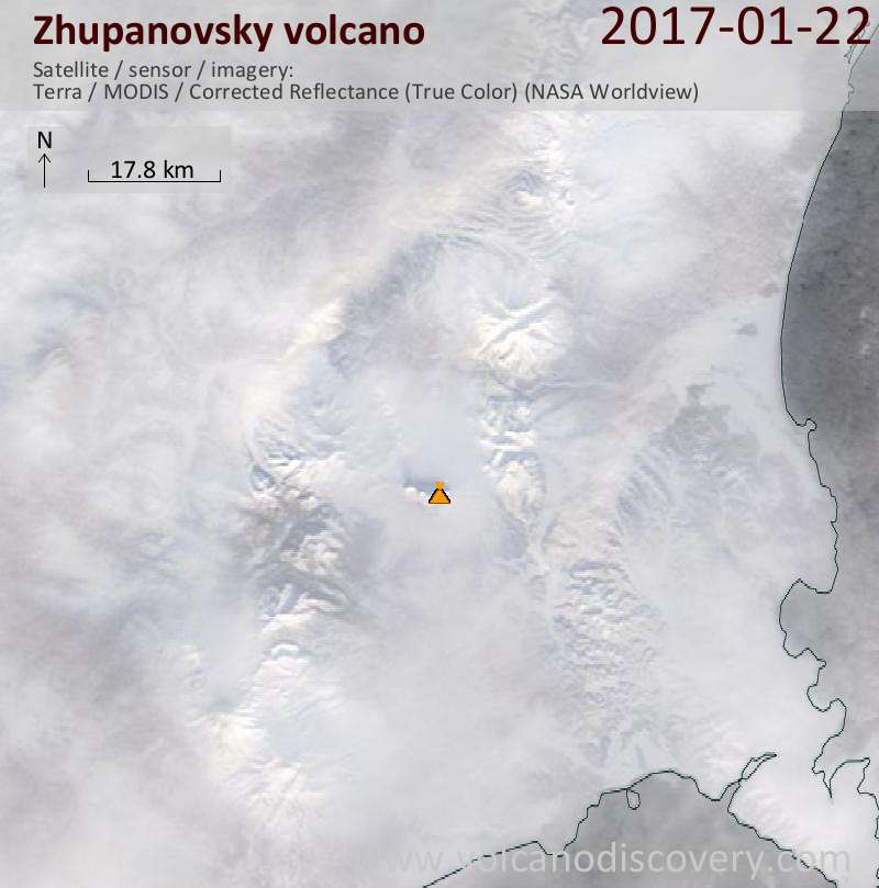 Satellite image of Zhupanovsky volcano on 22 Jan 2017