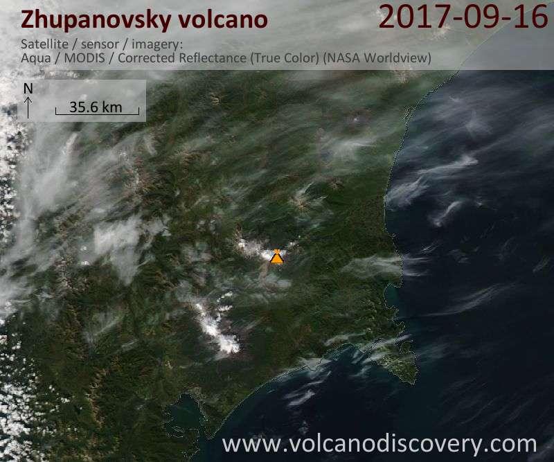 Satellite image of Zhupanovsky volcano on 16 Sep 2017