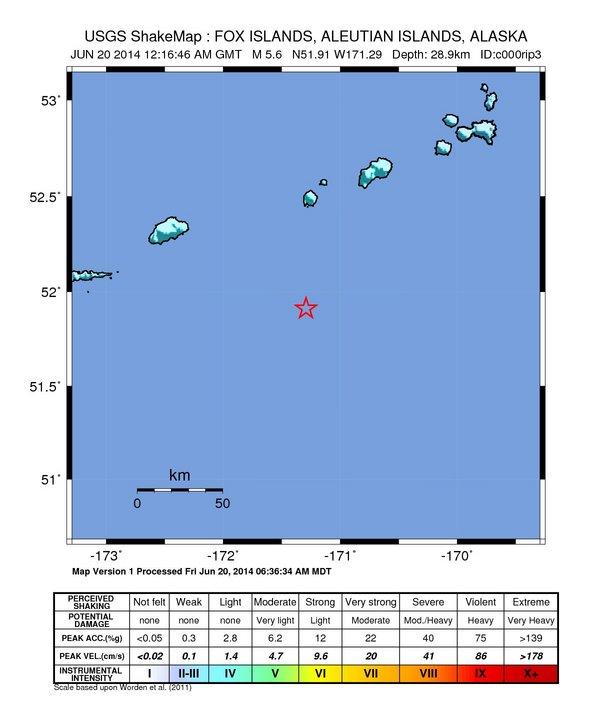 Fox Island Alaska Map.Earthquake Info M5 3 Earthquake On Fri 20 Jun 12 16 46 Utc 60km